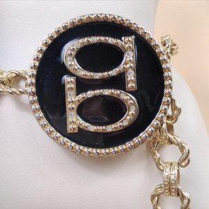 BEBE gold rhinestone chain belt woman's classic